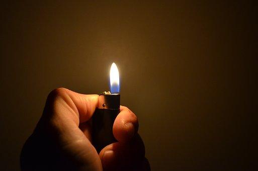 Lighter, Hand, Fire, Flame, Light, Heat, Background