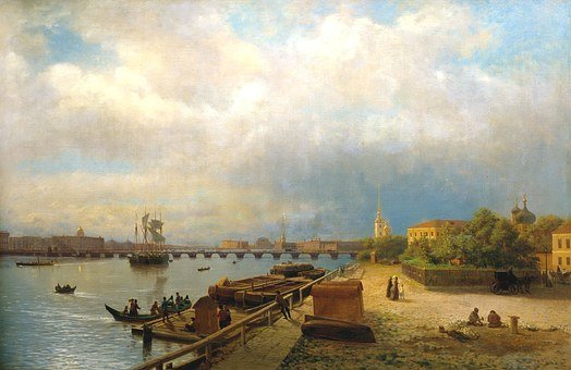 Lev Lagorio, Art, Painting, Sky, Clouds, Bay, Harbor
