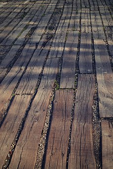 Parking, Wooden, Plank, Shadow, Old, Floor Boards, Sand