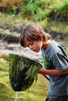 Fish, River, Boy, Water, Landscape, Fishnet, Child