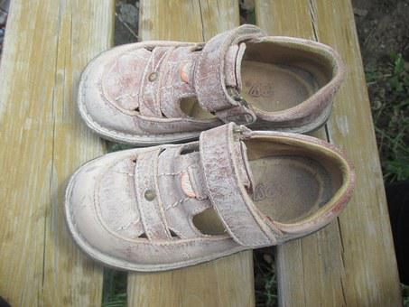 Shoes, Child, Dust, Sand, Play, Enjoy, Sandals, Vintage