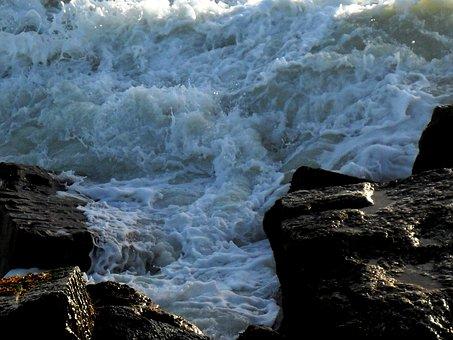 Sea, Water, Ocean, Surf, Surge, Rocks, White Foam