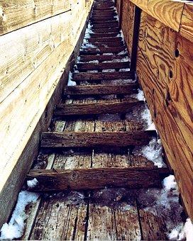 Stairs, Wooden, Old, Ski Jump, Stairway, Rustic, Wood