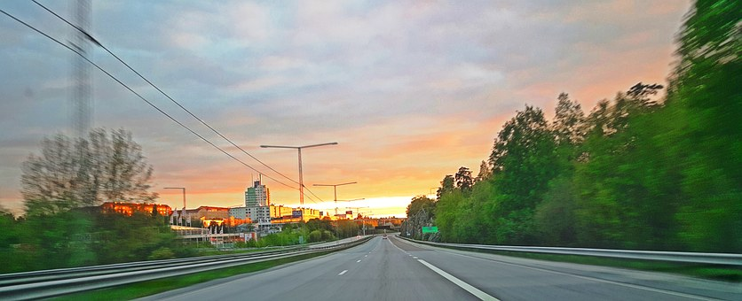 Sweden, Road, Tree, Plants, Forest, Car, Cloud, Summer