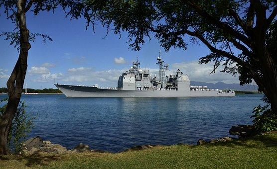 Hawaii, Ship, Battleship, Navy, Military, Bay, Harbor