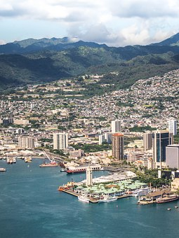 Hawaii, Oahu, Aerial View, City, Beach, Hawaii Beach