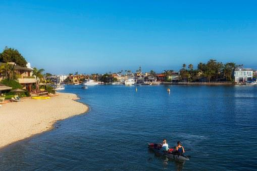 Waterway, Canal, Inlet, Boats, Beach, Sand, Buildings