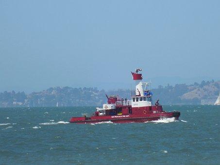 Boat, Fire Boat, San Francisco, Water, Bay, Waves