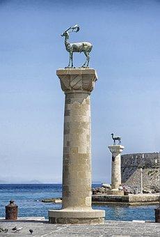 Rhodes, Greece, Port, Harbor, Water, Sky, Clouds