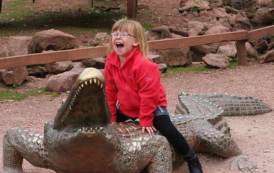Crocodile, Model, Girl, Child, Joy, Young, Fun
