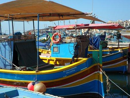 Fishing, Port, Malta, Marsaxlokk, Boats, Fishing Boats