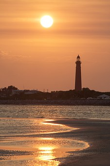 Lighthouse, Ponce Inlet, Ocean, Sky, Sunset, Florida