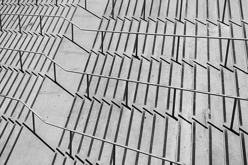 Stairway, Pattern, Shadows, Geometric, Symmetry