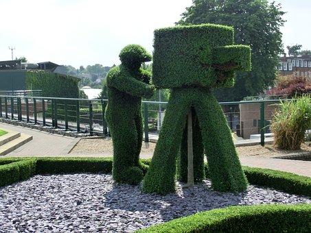 Wimbeldon, London, Tennis, Garden, Hedge, Art, Bush