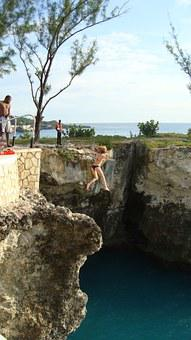 Girl, Jumping, Water, Cliff Diving, High, Action