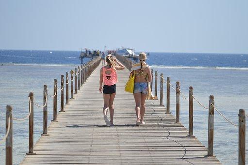 Pier, Ocean, Sea, Water, Landscape, Vacation, People
