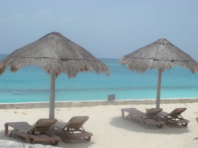 Beach, Rest, Relaxation, Holiday, Palapas, Sea, Cancun