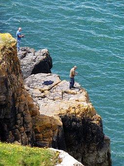 Angler, Sea, Cliffs, Wales, Rhossili, Gower