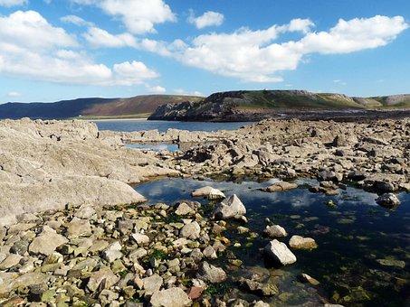 Rhossili, Gower, Wales, United Kingdom, Sea, Rock
