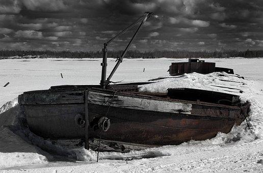 Finland, Ship, Shipwreck, Sky, Clouds, Winter, Snow