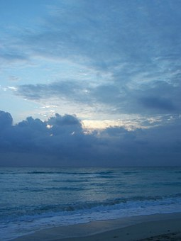 Beach, Blue, Sunset, Clouds, Florida, Shore, View