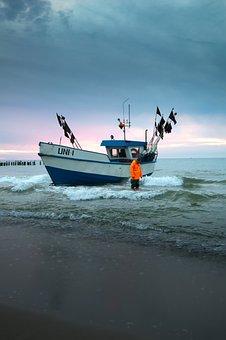 Boat, Sea, Beach, The Baltic Sea, Sand, The Coast