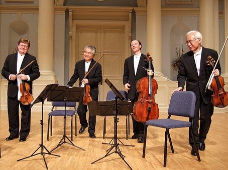 Quartet, Tokyo, Stage, Strings, Musicians, Men, Bowing