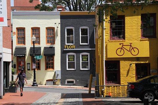 Georgetown, Town, Washington Dc, Colorful