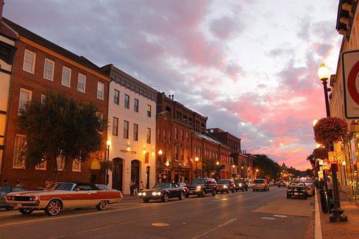 Dc, Sunset, Street, Car, Washington, Usa, Architecture