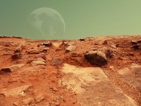 Red Planet, Moon, Alien, Arid, Abiocoen, Ancient