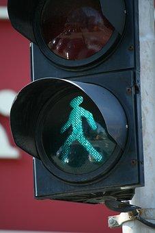 Traffic, Green, Man, Allowed, Positive