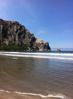 Morrow Bay, Beach, Rock, Sand, Ocean, California, Coast