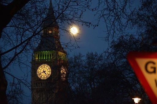 London, Moon, Big Ben, Night, England, Clock, Light