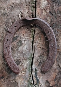 Horseshoe, Wood, Rustic, Old, Rusted, Texture, Crack