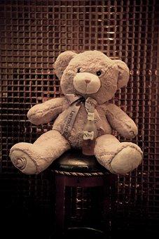 The Bear, Wine Bottle, Cute, Bow, Eye, Foot
