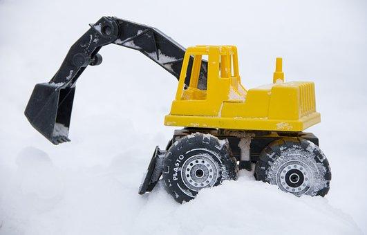Toy, Excavator, Snow, Shovel