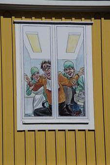 Dentist, Window, Advertising, Fun, Cartoon, Funny