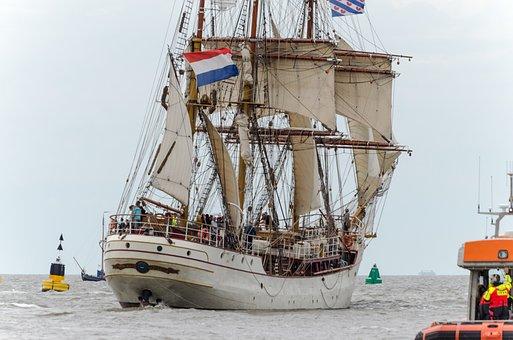 Ship, Sailing Sea-going Vessel, Harlingen, Wadden Sea