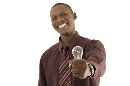 Man, African, Laughing, Idea, Light Bulg, Electric Bulb