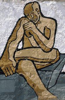 Sardinia, Murales, Murals, Graffiti, Politically, Man