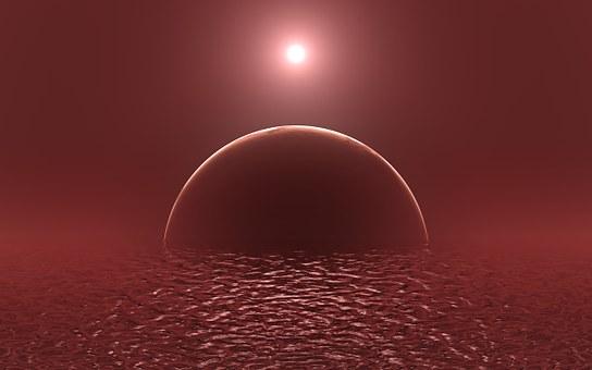 Alien Planet, Exoplanet, Ocean, Exomoon, Scarlet, Red