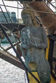 Sailboat, Boat, Port, Bow, Port Of Sète, Mermaid