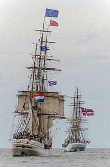 Sailing Boat, Ships, Harlingen, Wadden Sea, Sailing