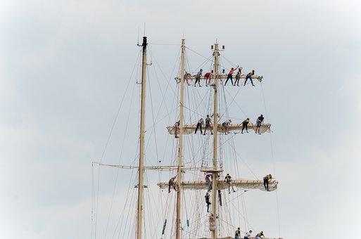 Sailing, Masts, Harlingen, Wadden Sea, Sailors