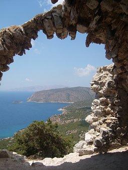 Greece, Dodecanese, Rock, Sea, View, Seaside