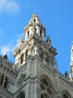 Tower, City hall, Vienna, The Sky, Front, Entry