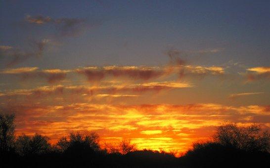 Sunset, Africa, Bright, Orange, Yellow, Gold, Horizon