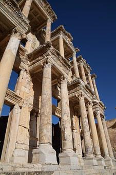 Ancient, Library Of Celsus, Ephesus, Selcuk