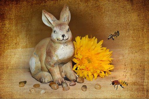 Hare, Dekohase, Easter Bunny, Flower, Blossom, Bloom