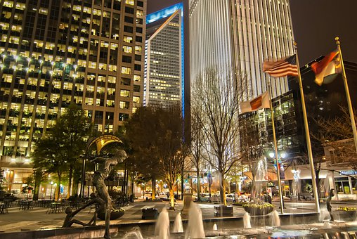 Charlotte Uptown, City, Night, Evening, Flags, Plaza